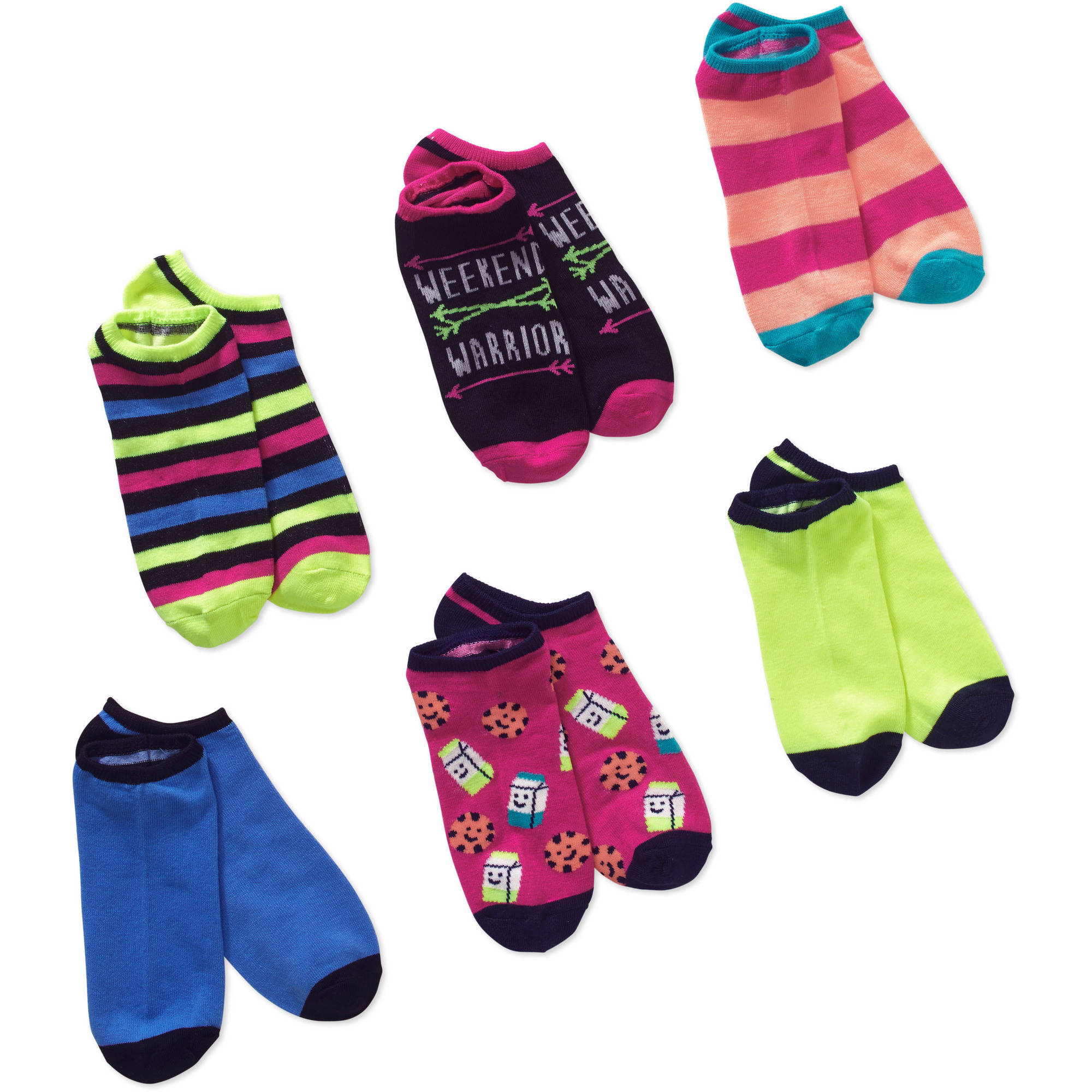 Ladies Mix and Match No Show Socks with Weekend Warrior and Milk and Cookies, 6 Pack