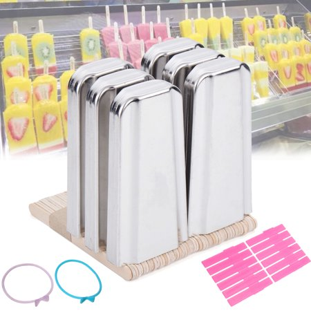 - 6 Cells Stainless Steel Frozen Ice Cream Pop Molds DIY 6 Stick Holder Mould Bar + 50Pcs Wood Sticks