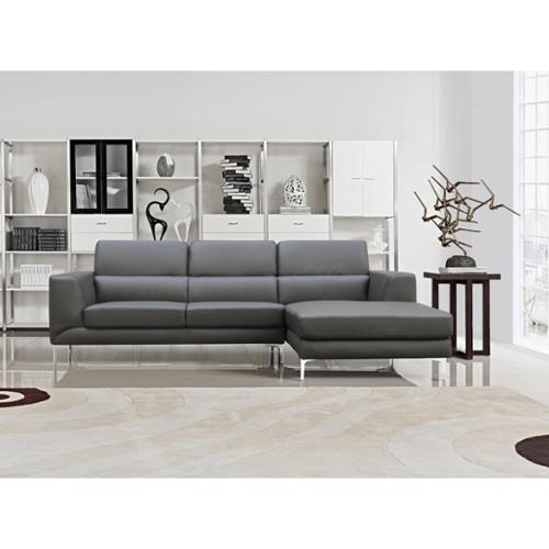 Yuri Grey Bonded Leather 2-piece Contemporary Sectional Sofa Set