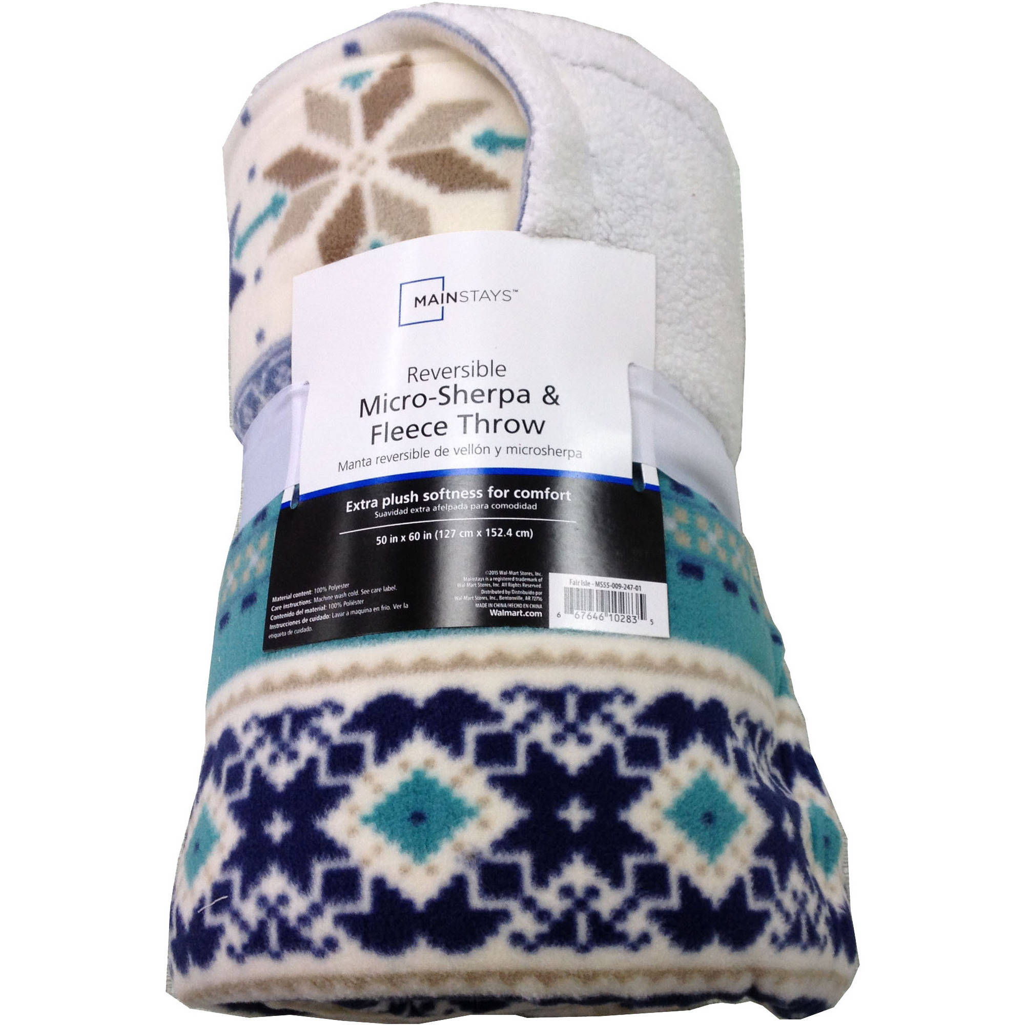 Mainstays Soft & Cozy Fleece to Sherpa Throw Blanket, 1 Each