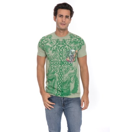 Proud Irish Celtic Heritage Culture Pride Four 4 Leaf Clover Soft T-Shirt Tee Printed Pocket Unisex -