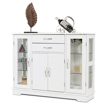 Costway Buffet Storage Cabinet Console Cupboard W/Glass Door Drawers Kitchen Dining Room Dining Room Buffet Servers