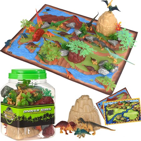 Dinosaur Toys Kids Play Set - 51 Piece Playset of Realistic Dinosaurs Figures in a Bucket Incl Dinosaurs, Trees, Rocks & 2 Play mats - Lots of Dinosaur Fun & Adventure, for Boys & Girls Age 3+ Playset Smethport Toys