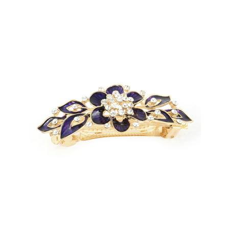 Women Rhinestone Detail Floral Design French Hair Barrette Clip Hairpin Purple