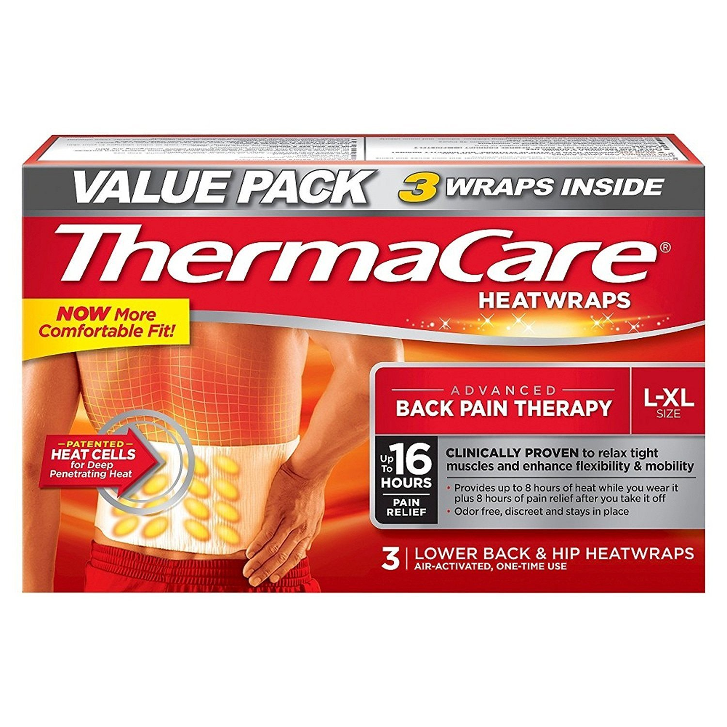 Lower Back & Hip Heat Wraps, Large-XL, 9 HeatWraps3 Pack ,each pack contains 3 wraps inside By ThermaCare
