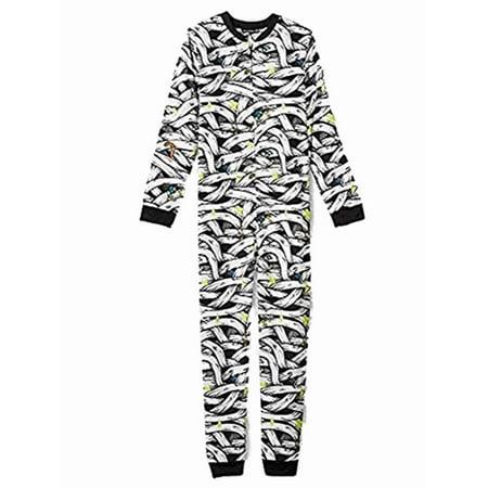 Boys Union Suit - Boys White Mummy Print Sleeper Pajamas Polyester Fleece Union Suit