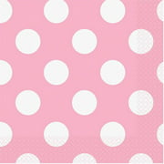 Light Pink Polka Dot Paper Luncheon Napkins, 6.5in, 16ct