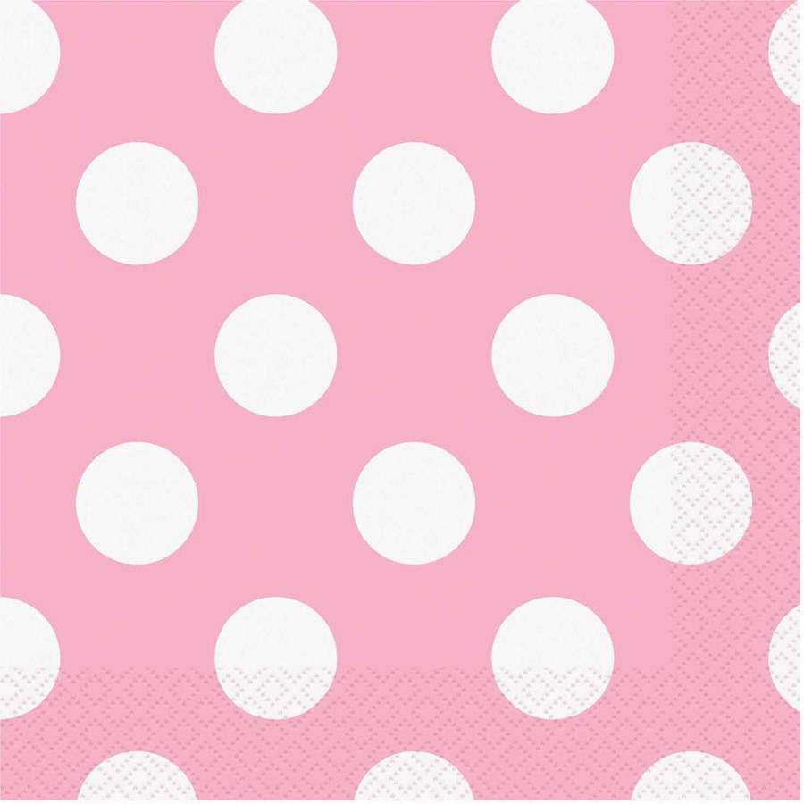 Light Pink Polka Dots Luncheon Napkins, 16-Count