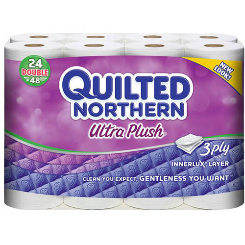 Quilted Northern Ultra Plush Toilet Paper, 24 Double Rolls, Bath Tissue