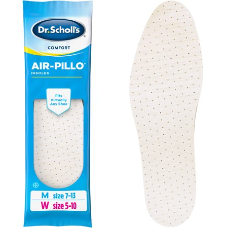 - Dr. Scholl's Comfort Air-Pillo Insoles, 1 Pair, Men Size 7-13, Women Size 5-10