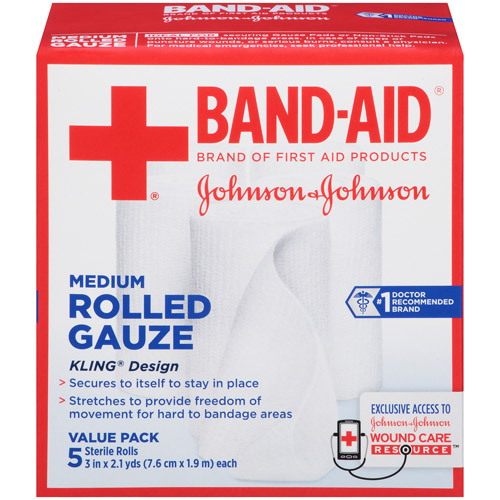 Band-Aid Brand of First Aid Products Rolled Gauze, 3 Inches by 2.1 Yards, 5 Count Value Pack