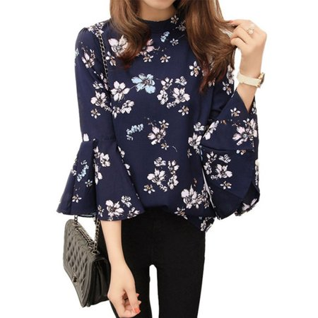 Sweetsmile Fashion Women Floral Chiffon Shirt Long Trumpet Sleeve Casual Loose T-Shirt Blouse Tops Clearance Sale!