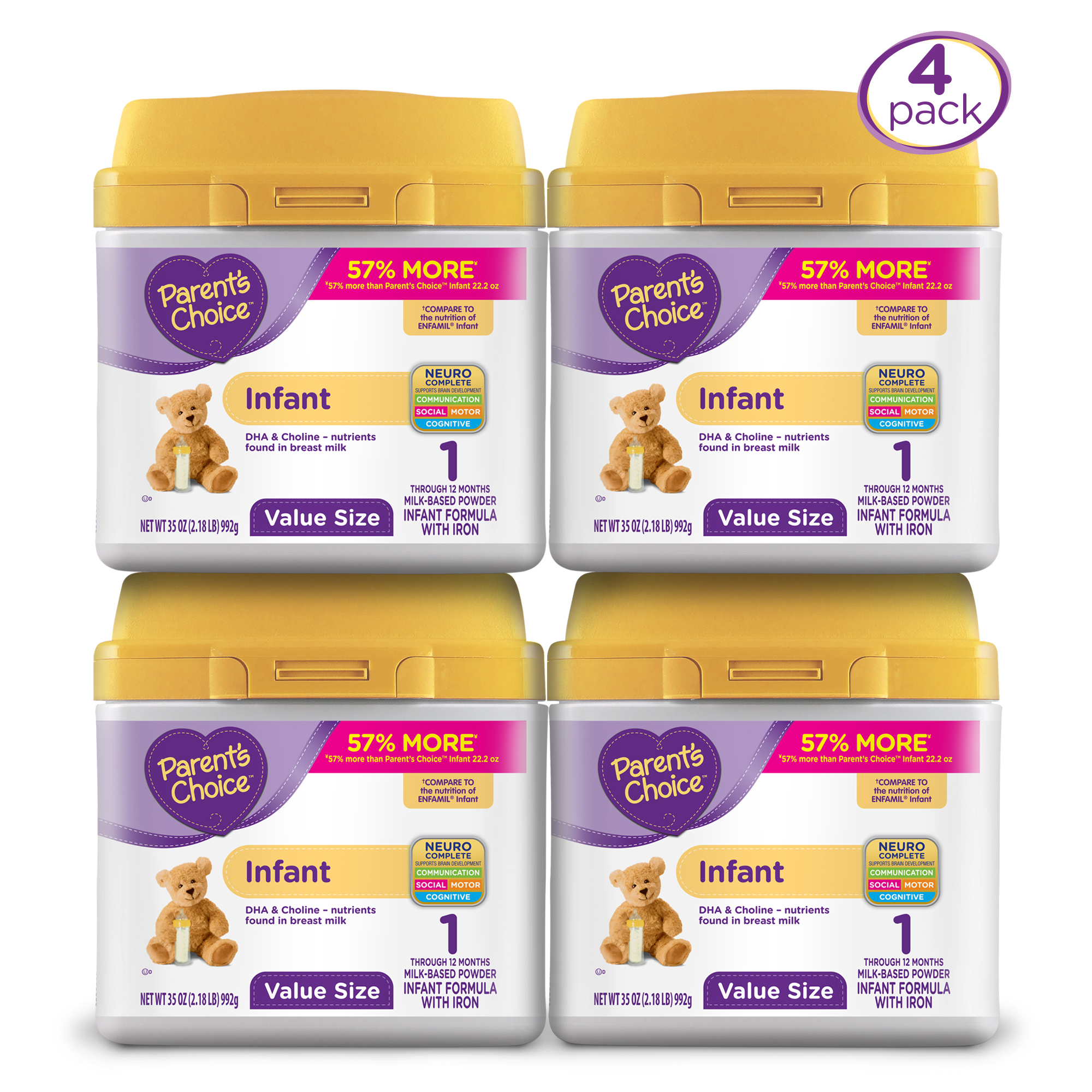 Parent's Choice Infant Powder Formula (4 Pack) with Iron, 35oz