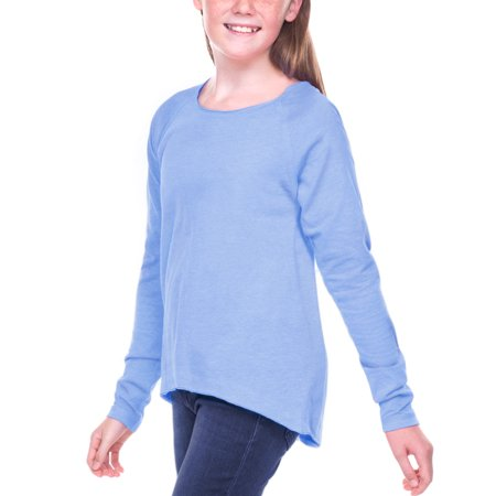 Kavio Girls 7-16 Sheer Jersey Raw Edge Raglan High Low Long Sleeve T-SHIRT - GJP0611
