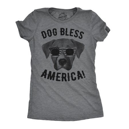 Womens Dog Bless America T Shirt Funny 4th of July Top Patriotic Party (Independence Center Independence Mo)
