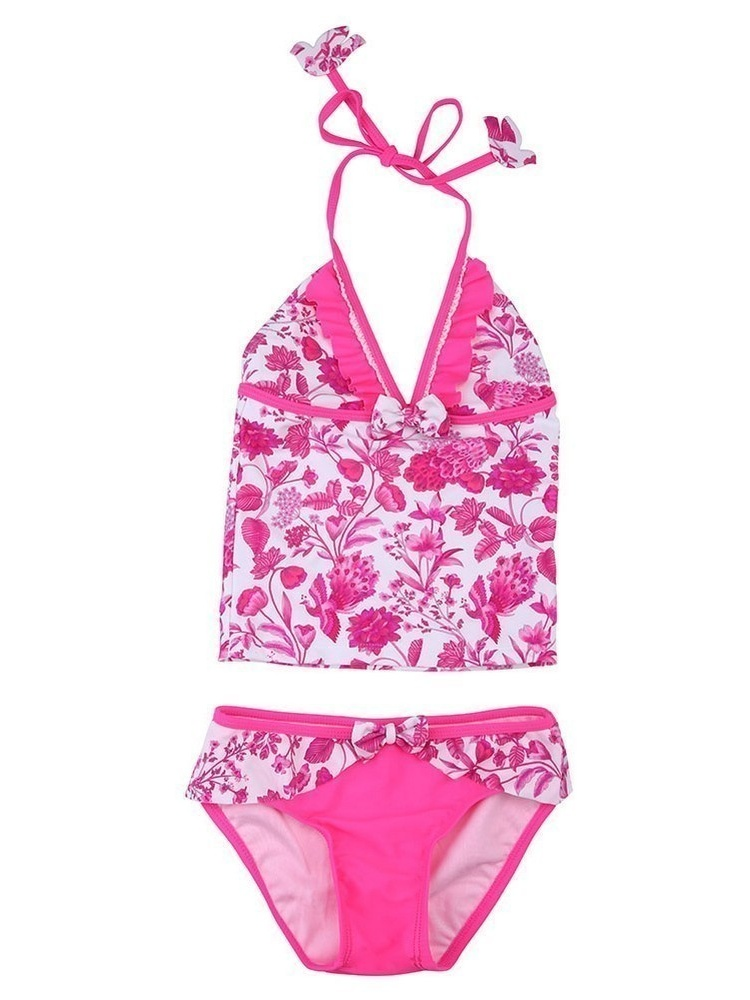 Sun Emporium Little Girls Pink Peacock Print Frill 2 Pc Tankini Swimsuit 4