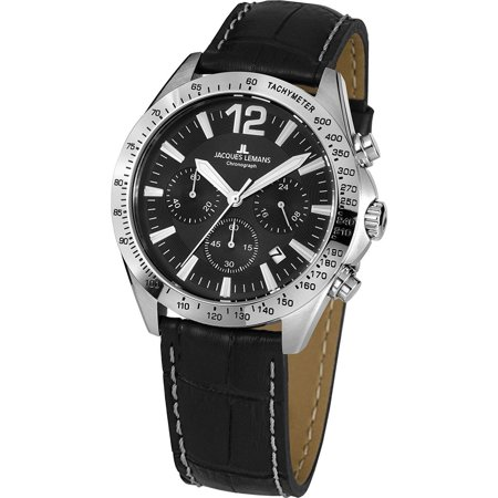 - Jacques Lemans Men's Sport 42mm Black Leather Band Steel Case Quartz Analog Watch 42-5A