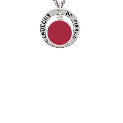 Small Maroon Enamel Disc Be Fierce Be Fabulous Affirmation Ring Necklace