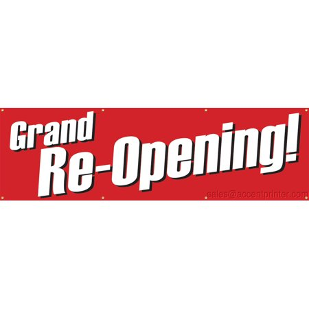Grand Re-Opening Vinyl Display Banner with Grommets, 3'hx10'w, Full Color - Vinyl Banners Cheap