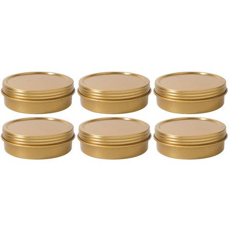 Gold Metal Steel Tin Flat Container with Tight Sealed Twist Screwtop Cover Lid - 2 oz (6 Pack)