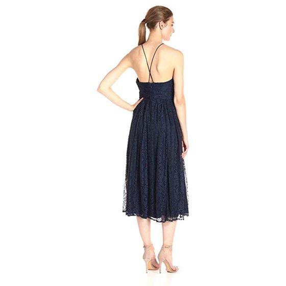 1fd5d8678851 Vera Wang - Vera Wang Women's Tee Length Halter Lace Cocktail Dress ...