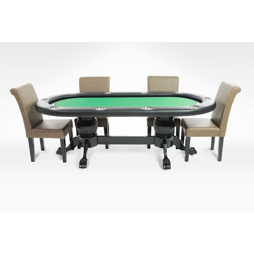 BBO Poker Elite 8 Piece Poker Dining Table Set with Lounge Chairs by