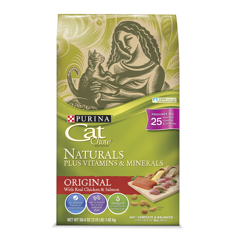 Purina cat chow naturals original plus vitamins & minerals dry cat food, 3.15 lb