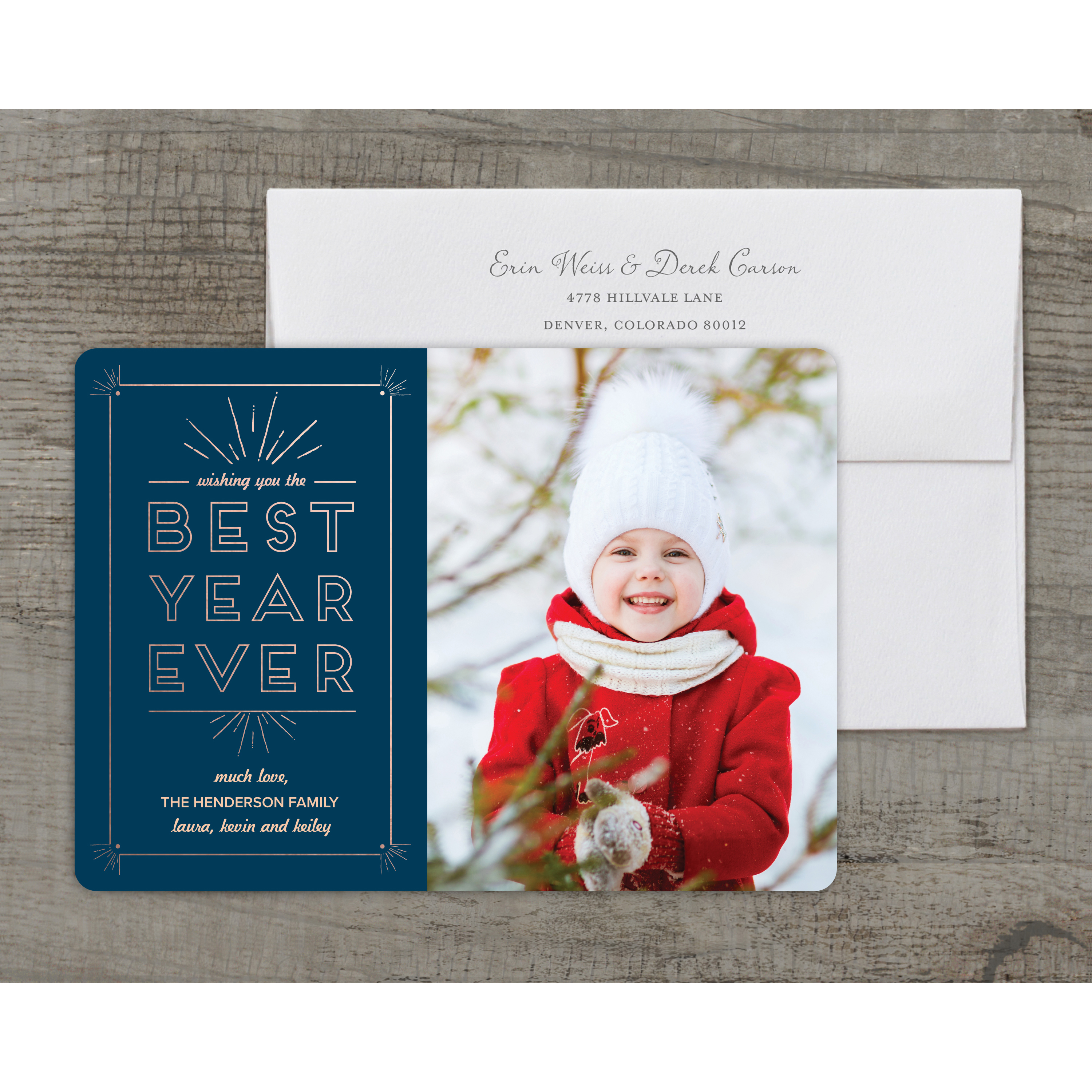 Best Year Ever - Deluxe 5x7 Personalized Holiday New Year Card