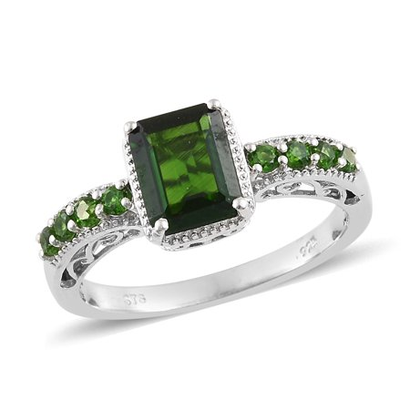 925 Sterling Silver Platinum Plated Octagon Chrome Diopside Promise Ring for Women Girls Cttw (Silver Chrome Girl)