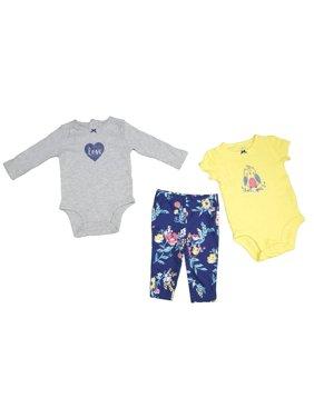 cf82480fb16fc7 Product Image Carters Baby Girl 6 Months 3-Piece Owl & Heart Bodysuit &  Pant Set,