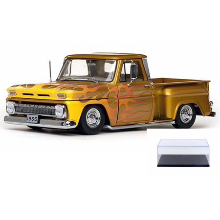 Diecast Car & Display Case Package - 1965 Chevy C-10 Stepside Lowrider Pickup Truck, Gold - Sun Star 1393 - 1/18 Scale Diecast Model Toy Car w/Display Case