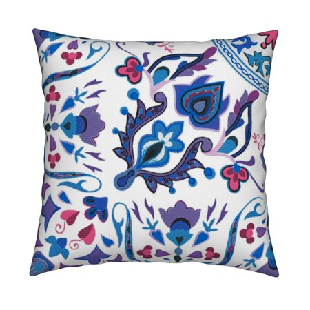Rosemaling Design - Tile Scandinavian Rosemaling Throw Pillow Cover w Optional Insert by Roostery