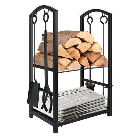 Indoor Firewood Rack with 4 Tools - Iron Fireplace Log Holder Storage Set ()