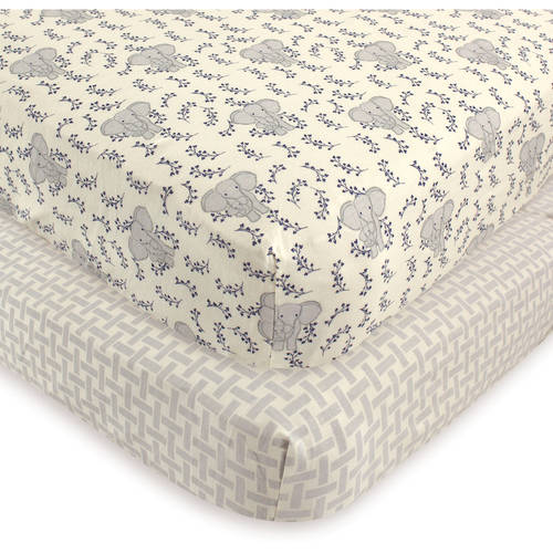 Touched by Nature Baby Boy and Girl Organic Cotton Fitted Crib Sheet, 2-Pack - Elephant
