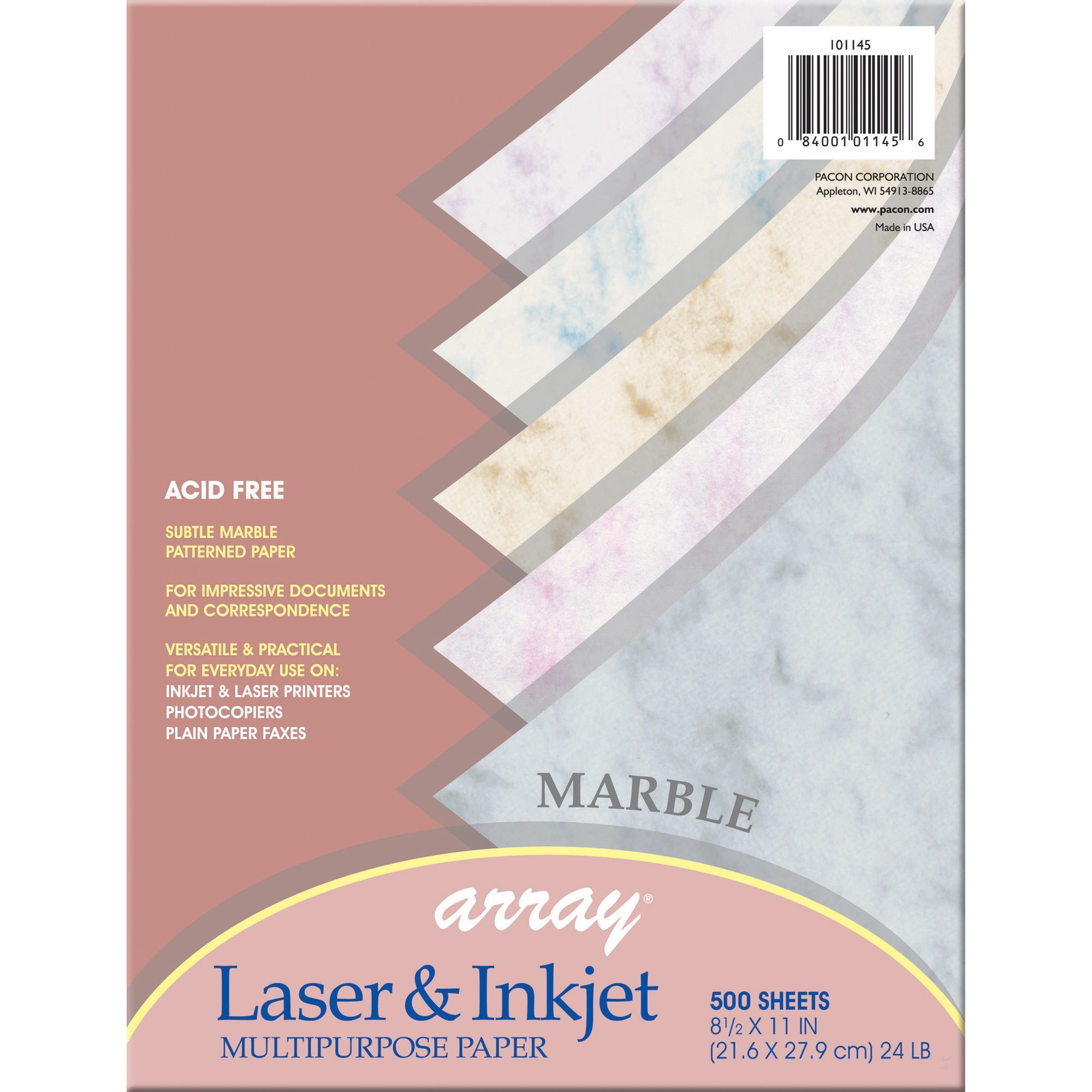 Pacon, PAC101145, Marble Bond Paper, 500 / Ream, Blue,Gray,Cherry,Tan,Lilac