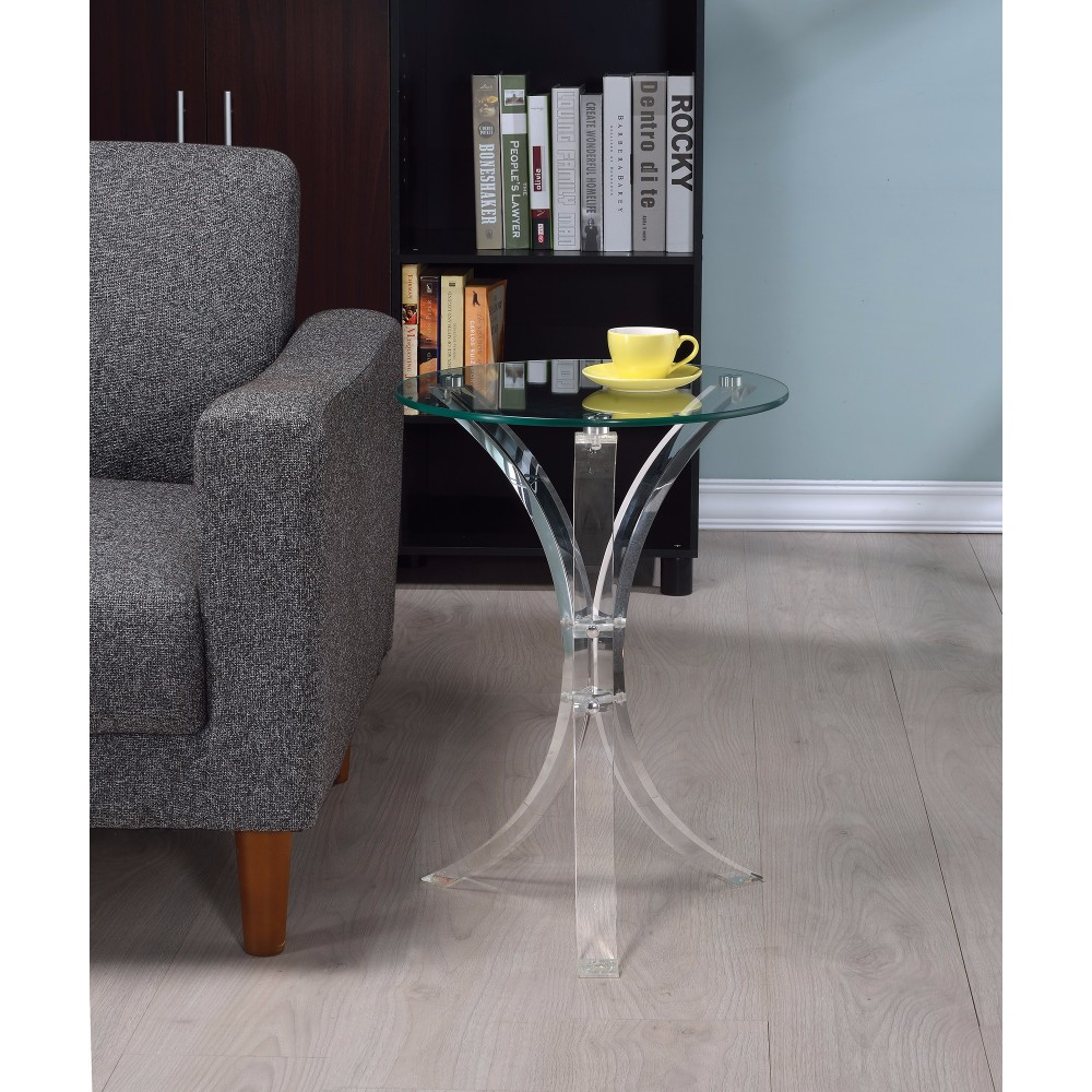 Contemporary Acrylic Accent Table With Glass Top, Clear by Benzara