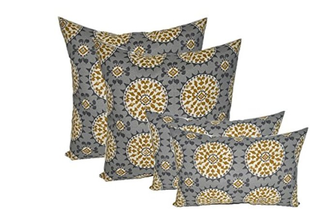 RSH Décor Indoor Outdoor Set of 4 Decorative Throw Pillows Weather