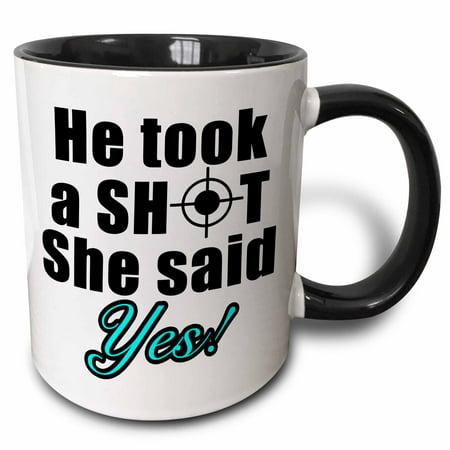 3dRose He Took A Shot She Said Yes Aqua - Two Tone Black Mug, 11-ounce - Halloween Mug Shots