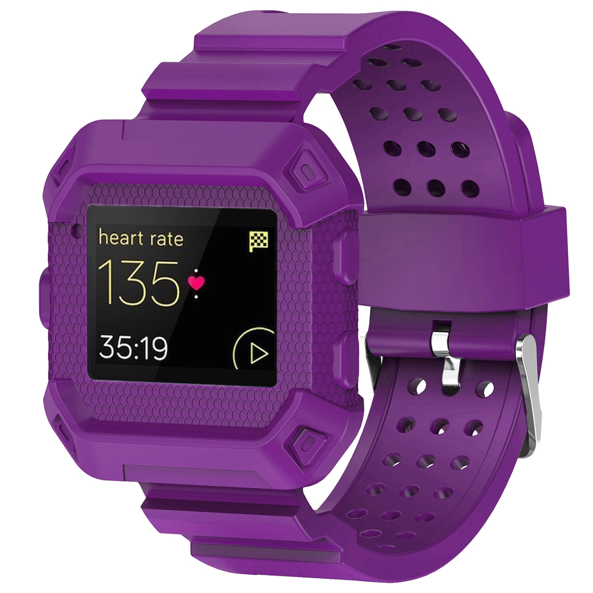 For Fitbit Blaze Band, Rugged Protective Wristband Case with Strap for Fitbit Blaze(Purple)
