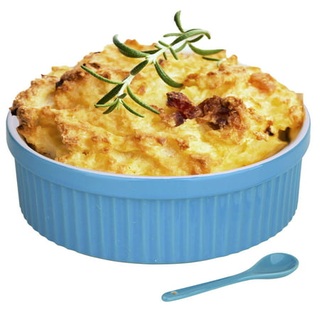 Souffle Dish Ramekins for Baking – 64 Oz, 2 Quart Large Ceramic Oven Safe Round Fluted Bowl with Mini Condiment Spoon for Soufflé Pot Pie Casserole Pasta Roasted Vegetables Baked Desser