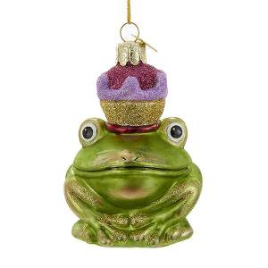 Frog Prince with Crown Glass Noble Gem Christmas Ornament - Christmas Crowns