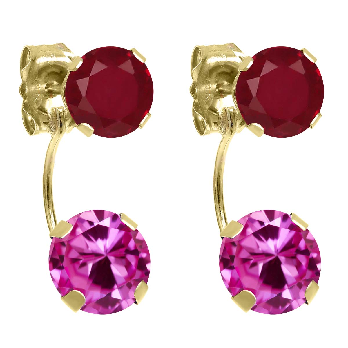 3.12 Ct Round Pink Created Sapphire Red Ruby 14K Yellow Gold Earrings by Ruby Pins