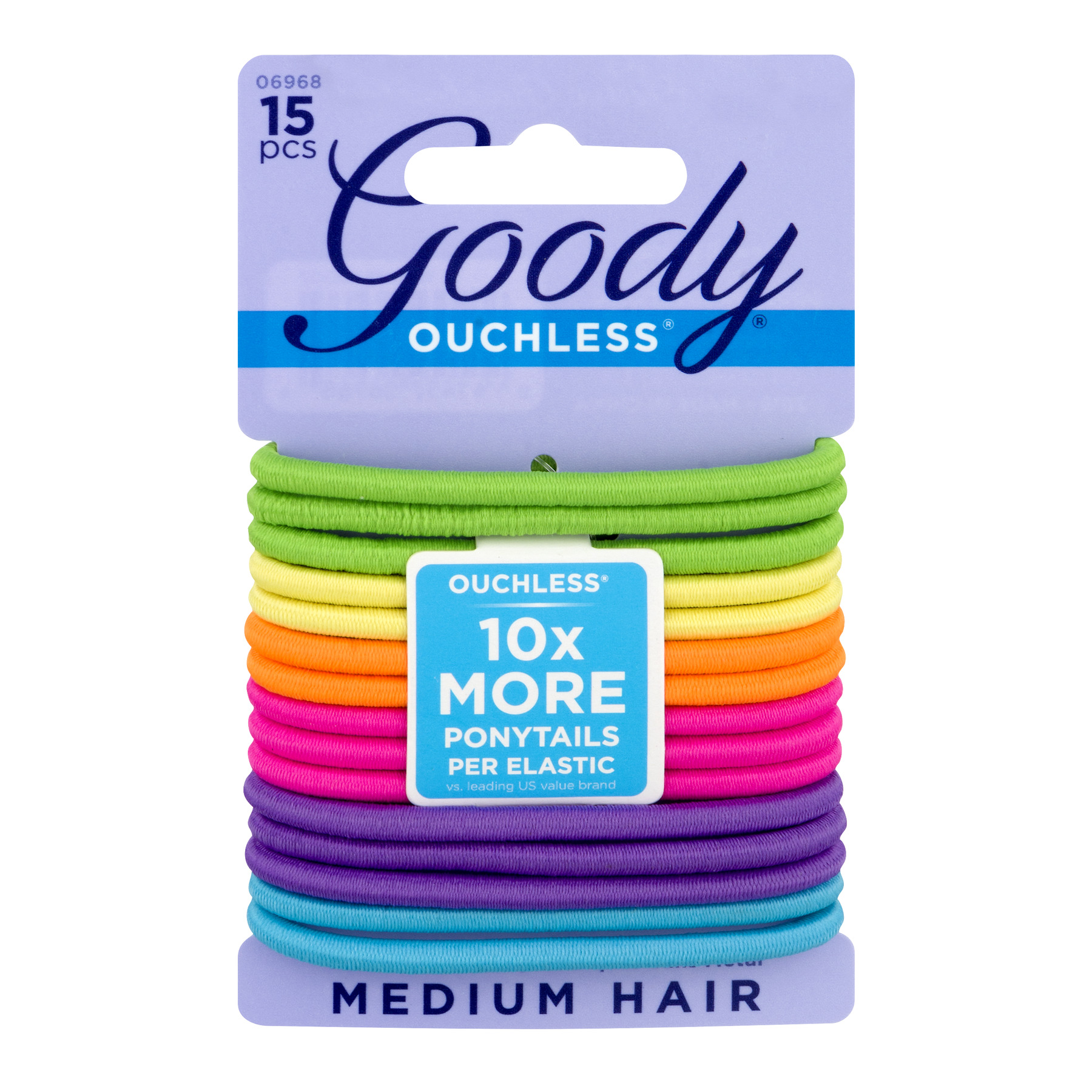 (2 Pack) Goody Ouchless Elastics, Rainbow, 15 count