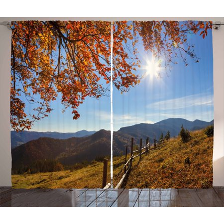 Fall Curtains 2 Panels Set, Fallen Leaves Over the Mountains Idyllic Fall Day Morning Sunrise Oak Tree Branches, Window Drapes for Living Room Bedroom, 108W X 108L Inches, Multicolor, by Ambesonne
