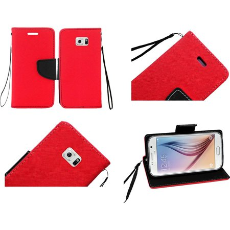For Samsung S6 Flip Wallet Credit Card   Red
