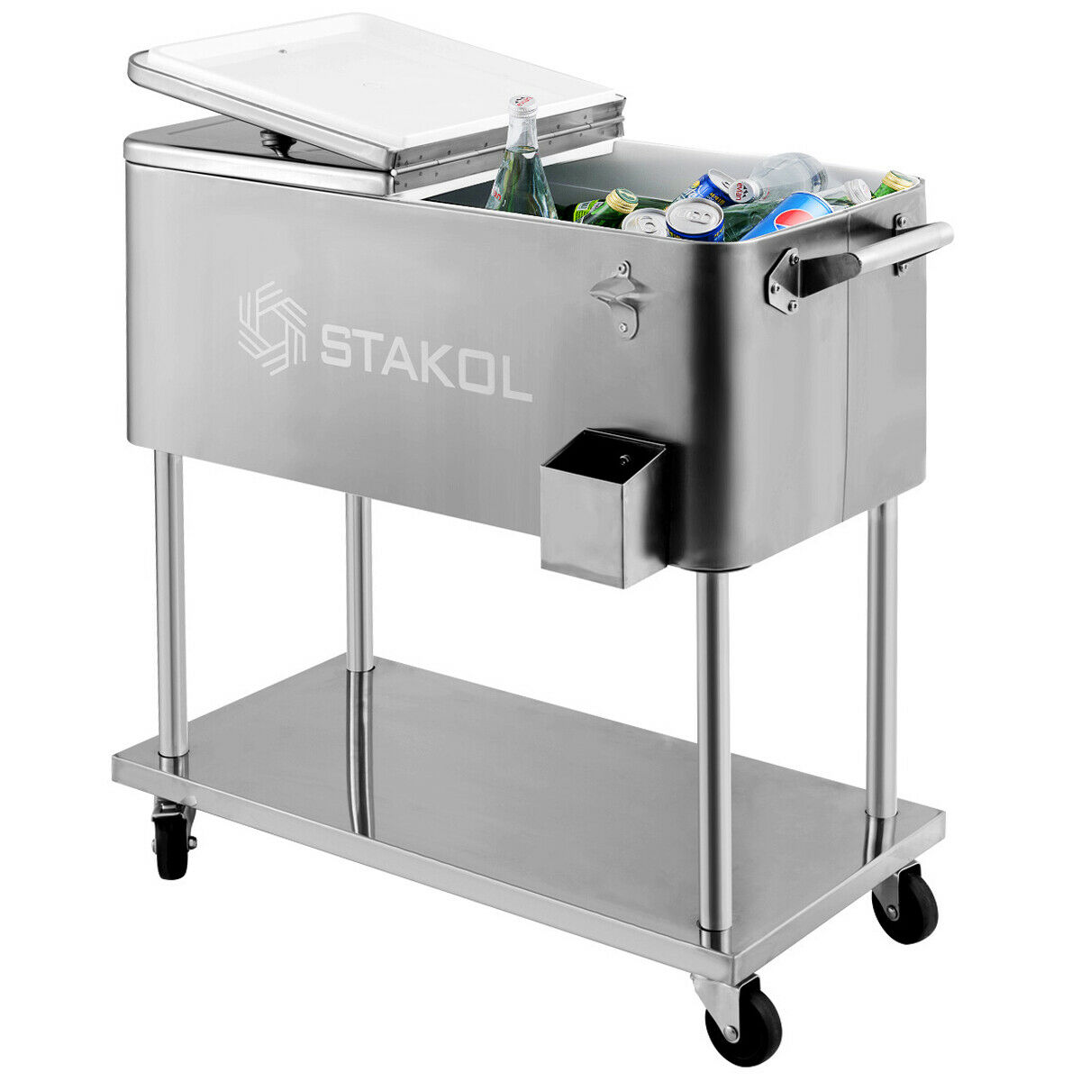 Costway Outdoor 80QT Portable Rolling Party Cooler Drink Ice Chest Patio Iron Spray Cart