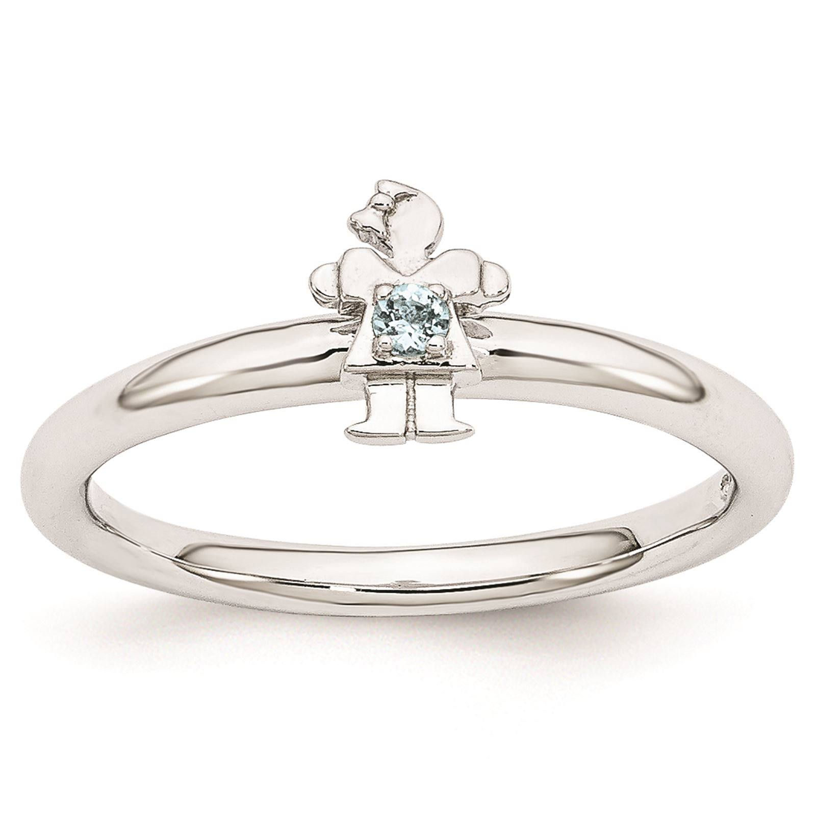 925 Sterling Silver Rhodium Plated Aquamarine Girl Stackable Ring Size 8
