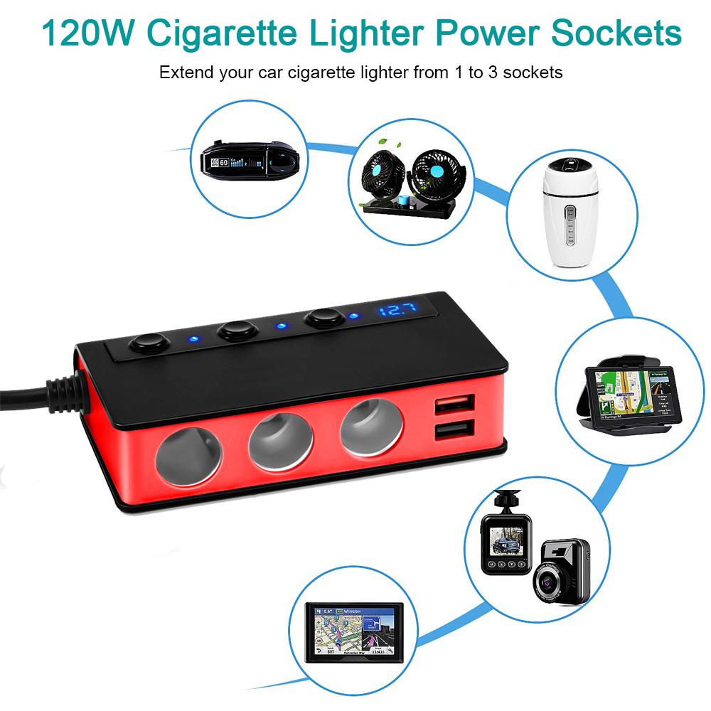 Car 12v aux socket power adapter cig plug 2 in 1 Splitter sat nav charge supply