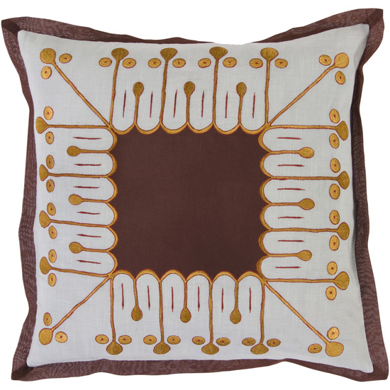 "18"" Abstract Sunshine Dark Brown and Golden Yellow Decorative Down Throw Pillow"