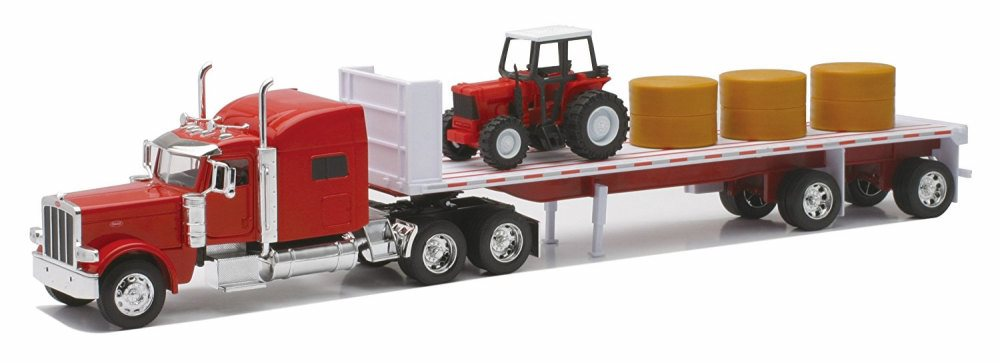 Peterbilt T389 Flatbed w  Farm Tractor & Hay Bales, Red New Ray 10293A 1 32 Scale Model Tractor Trailer by New Ray